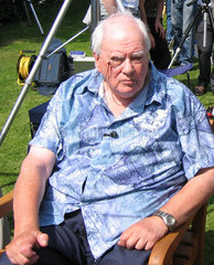 Astronomer Patrick Moore at Transit of Venus party  8 June 2004.