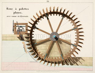 Waterwheel with flat paddles  and lock gate with overflow  1856.