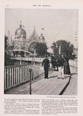 Visitors on the moving pavement  Paris  1900.