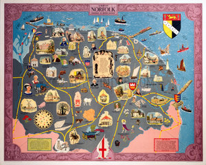 Map of Norfolk  BR (ER) poster  1948-1965.