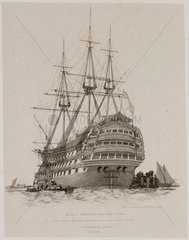 HMS 'Prince'  Portsmouth Harbour  July 1828.