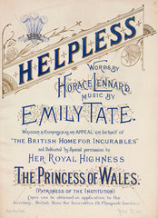 Title page to the sheet music for 'Helpless'  19th century.