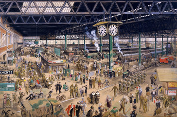 'Waterloo Station'  watercolour for an SR poster  1948.