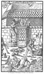 Blast furnace for smelting iron  1555.