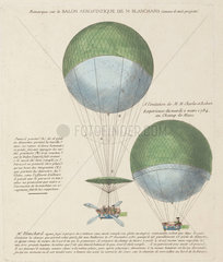 Blanchard's design for the 'Vaisseau Volant' balloon  1784.