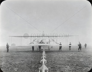 Wright Brothers Type A aeroplane on its launching rail  Sheppey  Kent  c 1910.