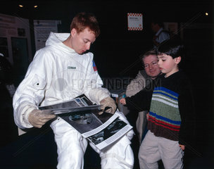 Actor dressed as an astronaut  Science Museum  London  24 April 2001.