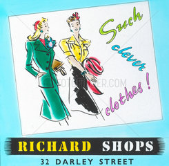'Richards Shops - Such Clever Clothes'  advertisement  c 1960.