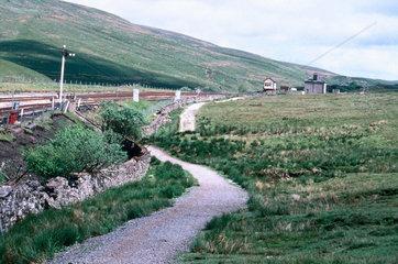 Railway line and a signal box.