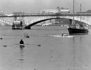 Amphibious car making its way up the Thames  London  6 June 1965.