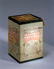 Medicine carton containing soluble aspirin powder  c 1900.