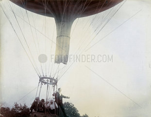 C S Rolls and others ascending in a balloon  1902.