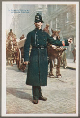 'Traffic Duty At Ludgate Circus'  c 1914.