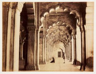 Interior of the Moti Masjid  Agra  c 1865.