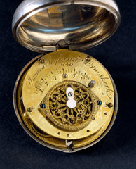 Pocket watch in silver pair case  c 1800.