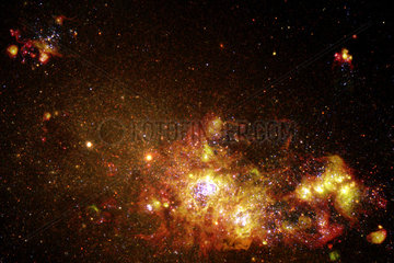 Fireworks of star formation light up a galaxy   1 June 2000.