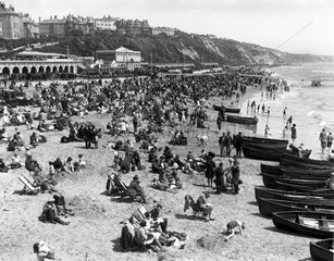 Crowds on the beach  Bournemouth  Dorset  2
