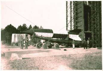 V2 rocket on launch pad  Operation Backfire  Cuxhaven  Germany  1945.