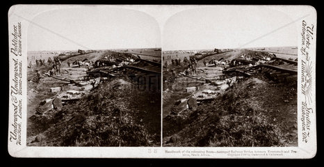 Railway bridges destroyed by the Boers  South Africa  1900.