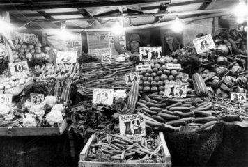 Greengrocer's  Islington Market  London  August 1977.