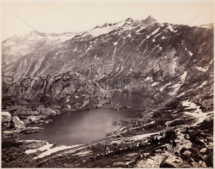 The Lake and Hospice on the Grimsel Pass  Switzerland  c 1850-1900.