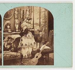 Woman petting deer  c 1860 .
