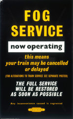 'Fog Service now operating'  BR poster  1965.