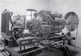 First ground test engine (the WU) at Power Jets' works in Lutterworth  1938.