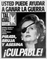 Margaret Thatcher portrayed as a pirate  30 April 1982.