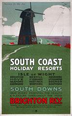 'South Coast Holiday Resorts'  LBSCR poster  c 1915.