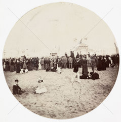 Beach entertainment  c 1890.