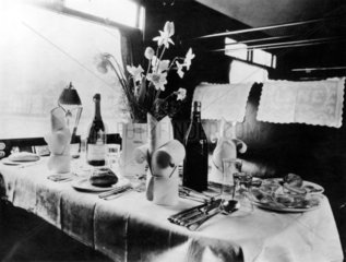 Table in a LNER dining car  c 1930s.
