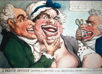 'A French dentist showing his artificial teeth and false palates'  1798.