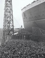 Launch of the Queen Elizabeth  Clydebank  27 September 1938.