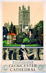 'Gloucester Cathedral'  GWR/LMS poster  1923-1947.