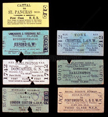 Examples of various railway tickets  early 20th century.