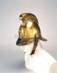 Brass firefighting helmet  c 1880-1920.