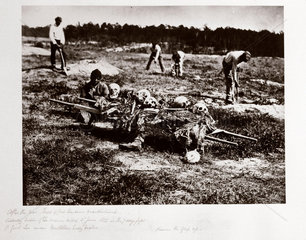 Remains of Union soldiers killed at Cold Harbour  Virginia  in June 1862  (c 1864).
