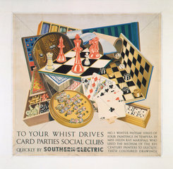 'To your Whist Drives  Card Parties  Social Clubs'  SR poster  1937.