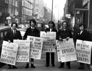 Female bus conductors demand equal rights  1960s.