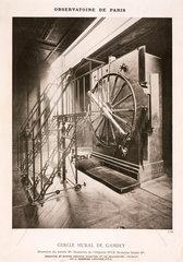Mural circle transit instrument  Paris Observatory  France  1884.