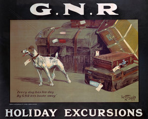 'Holiday Excursions - Every Dog Has His Day'  GNR poster  1913.