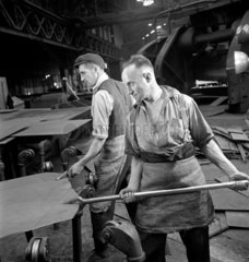 Two workers at steel plate mill  Sheffield  1947.