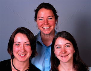 Three women  all with different colour eyes  May 2000.