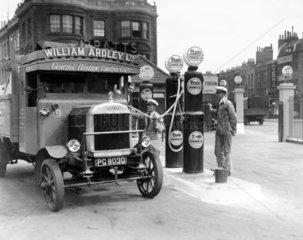 Motor van at a petrol station  7 August 193