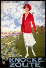 'Knocke - Zoute'  railway poster  c 1920s.