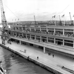 'The New Ocean Terminal seen from the Queen Mary'  Southampton  1950.