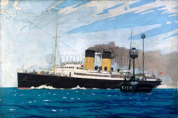 'Steamer Passing Kish Lightship between Dublin and Holyhead'  c 1935.