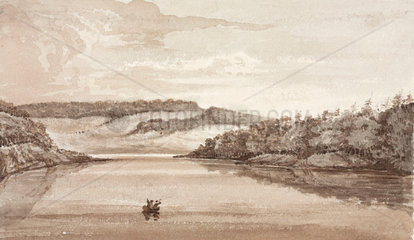 Two men rowing a boat across a lake  South Atlantic  1828-1831.