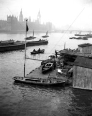 Fog over the River Thames  London  c 1920s.